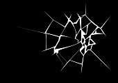 istock Vector Illustration of Broken Surface. White Crack Shape Isolated on Black Background 1253934072