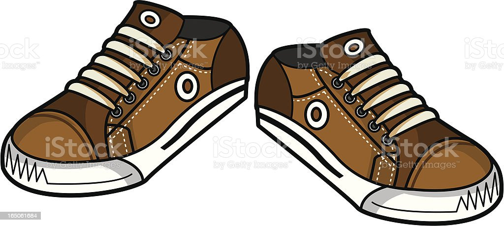 Vector illustration of Brown Canvas sneakers/trainers vector art illustration