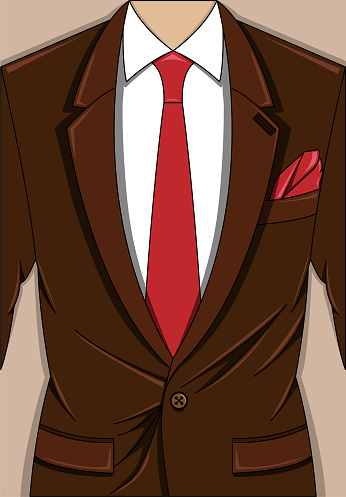 Vector illustration of brown man suit with red tie and pocket square, white shirt on the beige background.