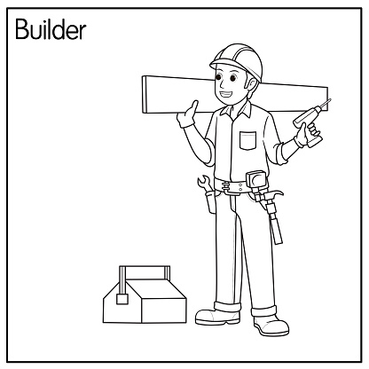 Vector illustration of builder isolated on white background. Jobs and occupations concept. Cartoon characters. Education and school kids coloring page, printable, activity, worksheet, flashcard.