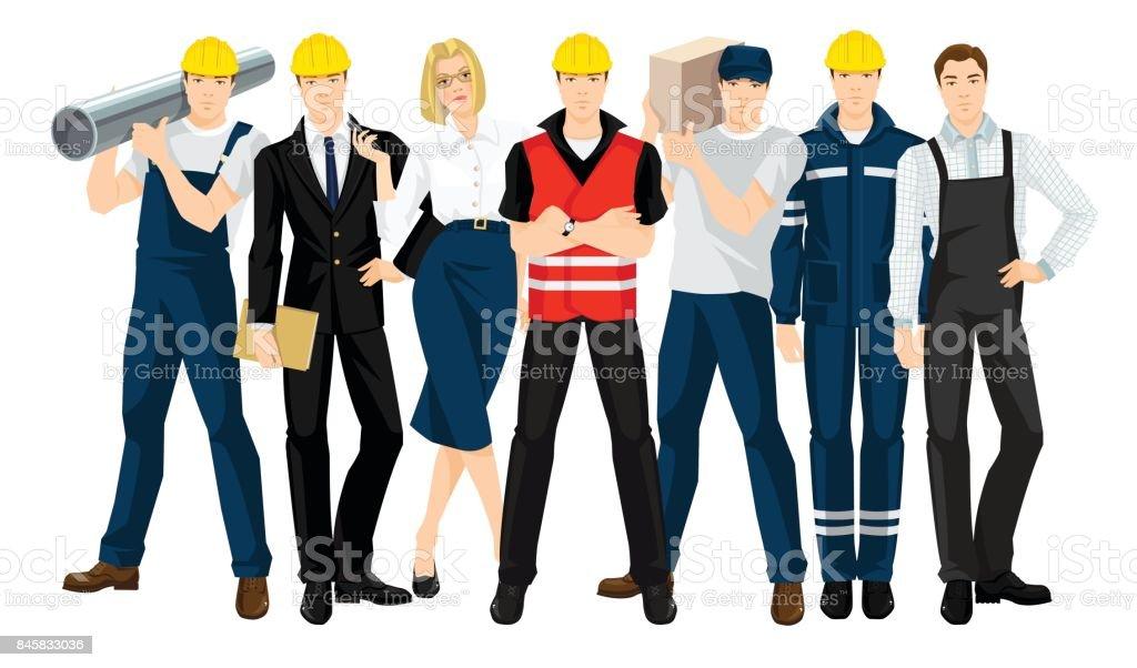 Vector illustration of building team vector art illustration