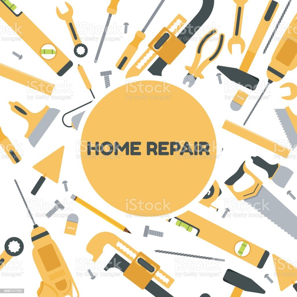vector illustration of building tools background home repair banner royalty free vector illustration of - Home Building Tools