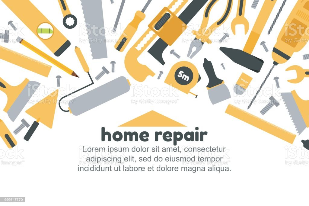 vector illustration of building tools background home repair concept royalty free vector illustration of - Home Building Tools