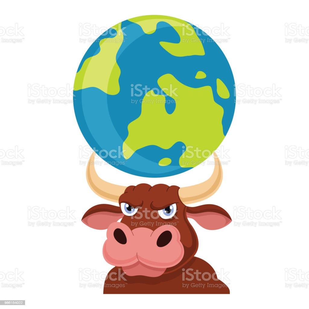 vector illustration of bull carrying earth stock vector art more