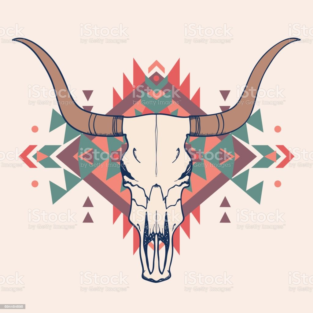 Vector illustration of bull skull with ethnic ornament royalty-free vector illustration of bull skull with ethnic ornament stock illustration - download image now
