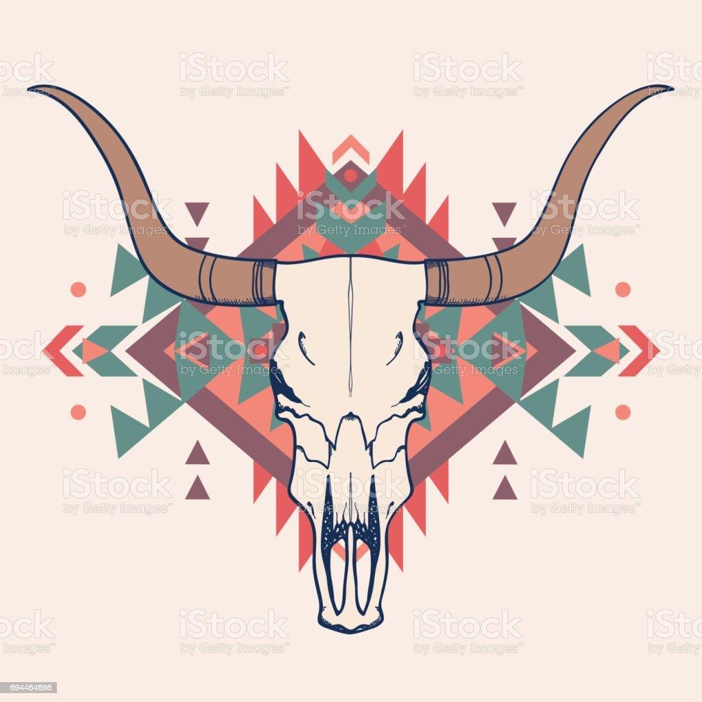Vector illustration of bull skull with ethnic ornament vector art illustration