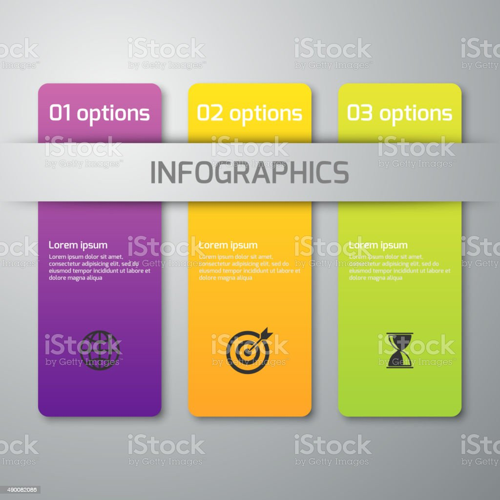 Vector illustration of business infographics 3 options vector art illustration