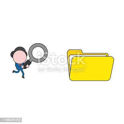 Vector illustration concept of businessman character carrying magnifying glass to opened file folder. Color and black outlines.