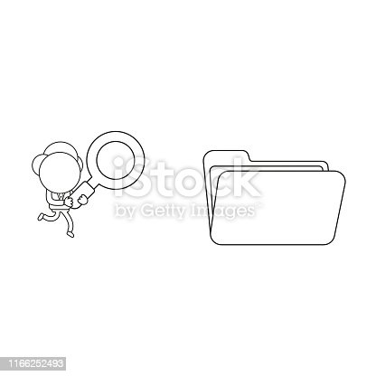Vector illustration concept of businessman character carrying magnifying glass to opened file folder. Black outline.
