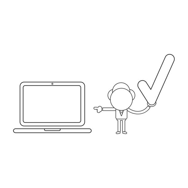 Vector illustration of businessman character holding check mark and pointing laptop computer. Black outline. vector art illustration