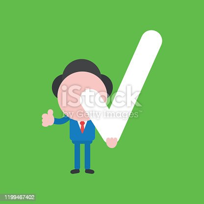 Vector illustration of faceless businessman character holding check mark and giving thumbs up on green background.