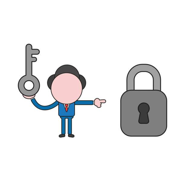Vektor-Illustration des Geschäftsmann-Charakters hält Schlüssel und zeigt geschlossen vorhängeschloss. Farbe und schwarze Umrisse. – Vektorgrafik