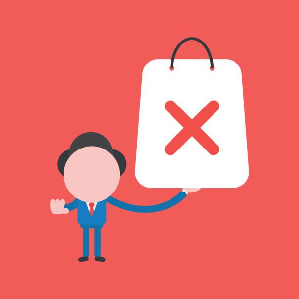 Vektor-Illustration von Geschäftsmann Charakter hält rote Einkaufstasche mit x-Marke. – Vektorgrafik