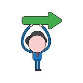 Vector illustration concept of businessman character holding up arrow pointing right. Color and black outlines.