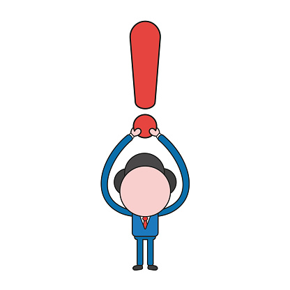 Vector illustration concept of businessman character holding up exclamation mark. Color and black outlines.