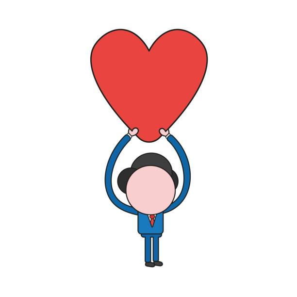 Vektor-Illustration des Geschäftsmann Charakters halten Herz. Farbe und schwarze Umrisse. – Vektorgrafik