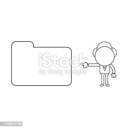 Vector illustration concept of businessman character pointing closed file folder. Black outline.