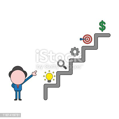 Vector illustration concept of businessman character pointing dollar symbol on top of stairs. Color and black outlines.