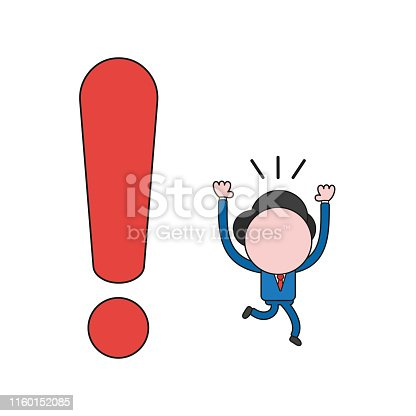 Vector illustration concept of businessman character running away from exclamation mark. Color and black outlines.