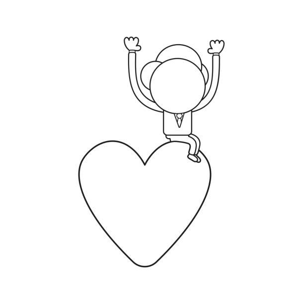 Vektor-Illustration von Geschäftsmann Charakter sitzt auf Herz. Schwarze Umriss. – Vektorgrafik