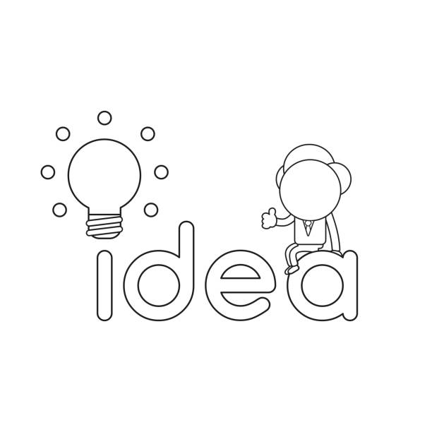 Vector illustration of businessman character sitting on idea word with glowing light bulb. Black outline. vector art illustration