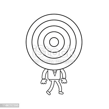 Vector illustration concept of businessman character with bulls eye head and walking. Black outline.