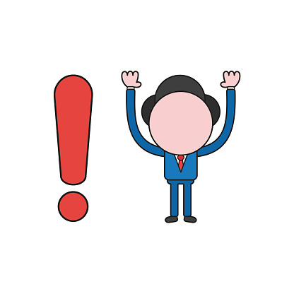 Vector illustration concept of businessman character with exclamation mark. Color and black outlines.
