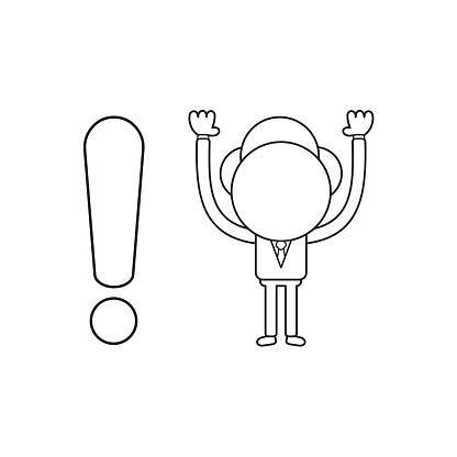 Vector illustration concept of businessman character with exclamation mark. Black outline.