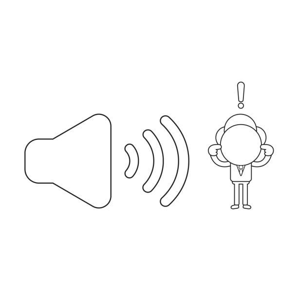 Vektor-Illustration des Geschäftsmann-Charakters mit Klangsymbol und schließenden Ohren. Schwarze Umriss. – Vektorgrafik