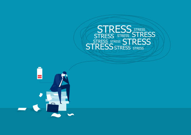 Vector illustration of businessman under stress on many paper. Vector illustration of businessman under stress on many paper. mental burnout stock illustrations