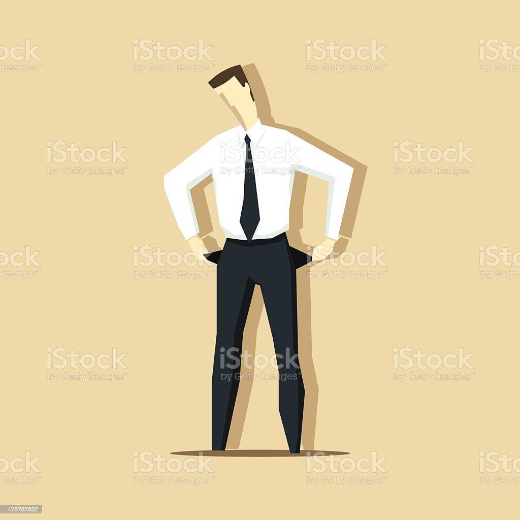 Vector illustration of businessman with empty pockets vector art illustration