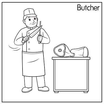 Vector illustration of butcher isolated on white background. Jobs and occupations concept. Cartoon characters. Education and school kids coloring page, printable, activity, worksheet, flashcard.
