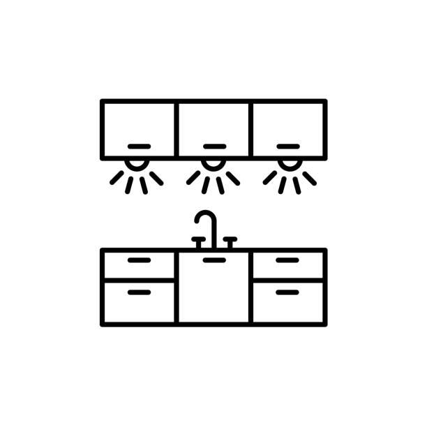 ilustrações de stock, clip art, desenhos animados e ícones de vector illustration of cabinet lighting. line icon of kitchen workspace light. isolated on white background. - kitchen counter
