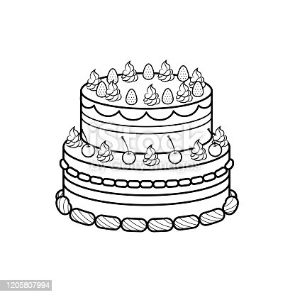 istock Vector illustration of cake isolated on white background for kids coloring activity worksheet/workbook. 1205807994
