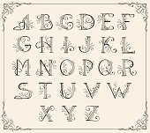 Vector illustration of calligraphic alphabet
