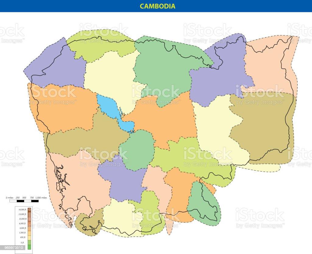 Vektor-Illustration von Kambodscha Karte - Lizenzfrei ASEAN Vektorgrafik