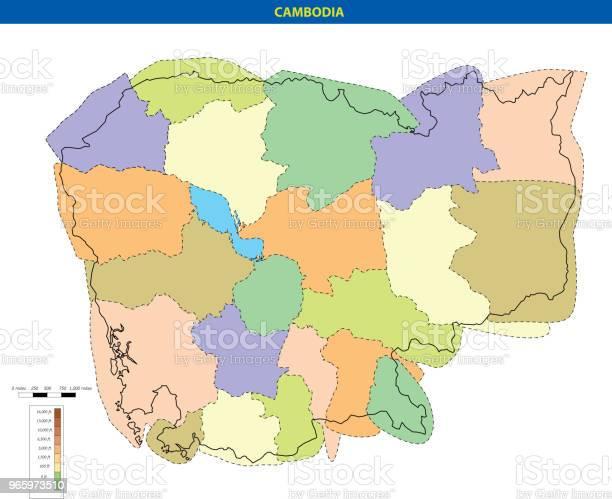 Vektorillustration Av Kambodja Karta-vektorgrafik och fler bilder på Asien
