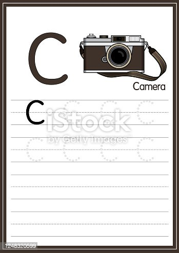 istock Vector illustration of Camera isolated on a white background. With the capital letter C for use as a teaching and learning media for children to recognize English letters Or for children to learn to write letters Used to learn at home and school. 1248320599