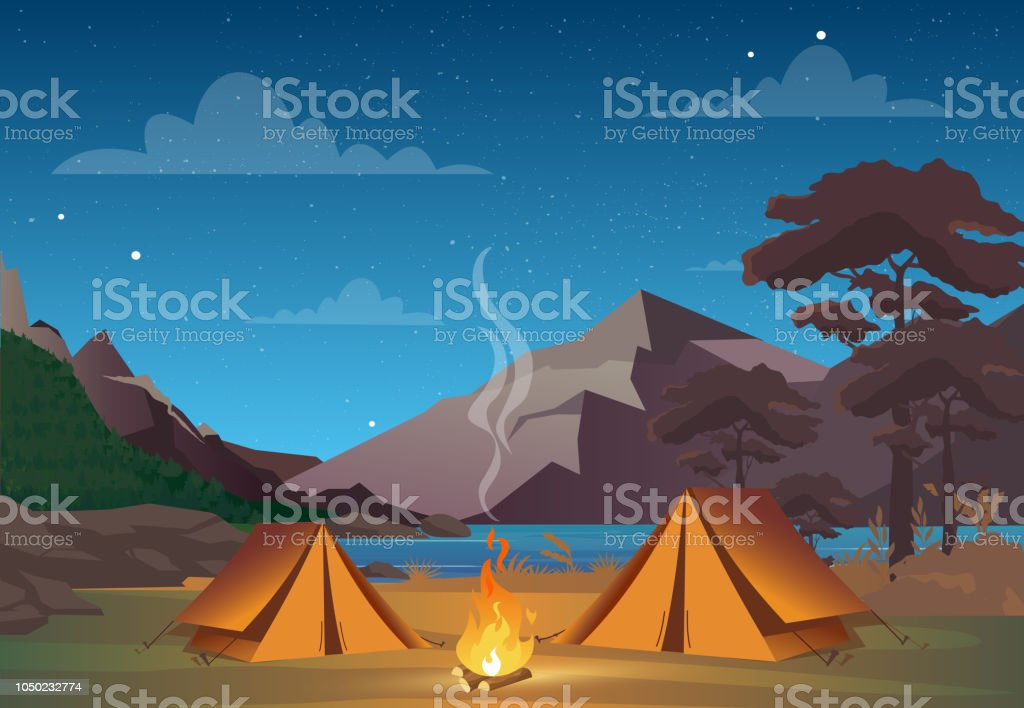 Vector illustration of camping in night time with beautiful view on mountains. Family camping evening time. Tent, fire, forest and rocky mountains background, night sky with clouds. - Royalty-free Acampar arte vetorial