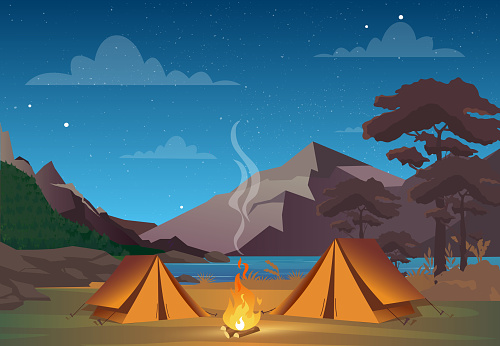 Vector Illustration Of Camping In Night Time With Beautiful View On Mountains Family Camping Evening Time Tent Fire Forest And Rocky Mountains Background Night Sky With Clouds - Arte vetorial de stock e mais imagens de Acampar