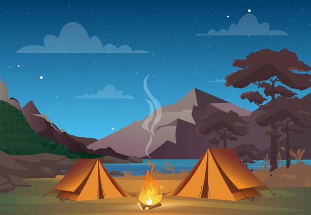 illustrazioni stock, clip art, cartoni animati e icone di tendenza di vector illustration of camping in night time with beautiful view on mountains. family camping evening time. tent, fire, forest and rocky mountains background, night sky with clouds. - falò