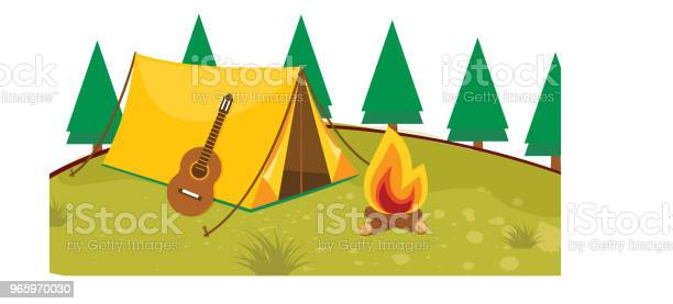 Vector Illustration Of Camping Stock Illustration - Download Image Now