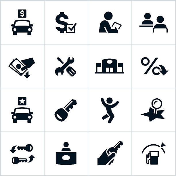 Vector illustration of car dealership icons A set of 16 black-and-white icons on a solid white background representing an auto dealership.  The top row has a car with a dollar sign, a dollar sign with a checkmark, a person with a piece of paper and two people meeting.  The second row has a hand with money, tools, a service station and a percent sign.  The third row has a car with a star, a key, a person jumping and a stick shift.  The last row has two keys, a person at a desk, a key in a hand and a gas pump.  The file type is EPS 10. car salesperson stock illustrations