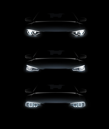 Vector illustration of car lights realistic set stylish automobile silhouette with white headlights on background