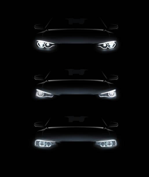 illustrations, cliparts, dessins animés et icônes de illustration vectorielle de la voiture s'allume réaliste set silhouette automobile élégant phares blancs sur fond - voiture nuit