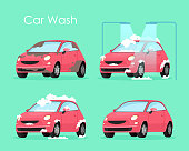 Vector illustration of car wash concept. Washing car process service, red car in soap and water on green background in flat cartoon style