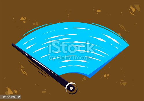Vector illustration of car windshield wiper to clean the glass, clean the dirt on the car windshield