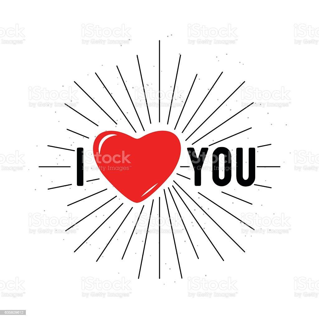 Vector illustration of card for Valentines day I love you vector art illustration