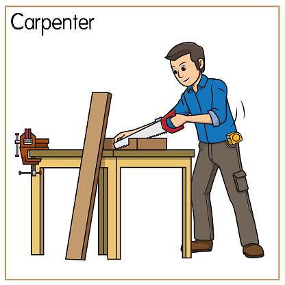 Vector illustration of carpenter isolated on white background. Jobs and occupations concept. Cartoon characters. Education and school kids coloring page, printable, activity, worksheet, flashcard.