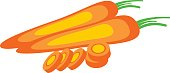 Vector illustration of  carrot, isolated over white background. Series of food and drink and ingredients for cooking.
